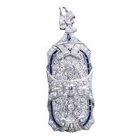 MASSIVE early Art Deco 1920s platinum 5 carat total weight diamond blue sapphire baguette convertible brooch pin pendant with 14k white gold chain