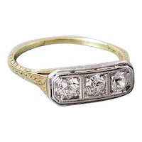 Antique vintage Art Deco 14k & platinum filigree 3 diamond anniversary wedding engagement ring .30 carat / three stone / 3 stone / size 8.5