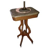 OHIO PICKUP Gorgeous antique Edwardian Victorian Eastlake wood marble top petite side table, oak table, parlor, nightstand, night stand
