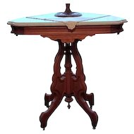 OHIO PICKUP ONLY- Gorgeous antique Edwardian Victorian Eastlake wood marble top side table, oak table, parlor, nightstand, night stand