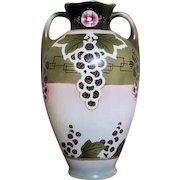 Large antique Royal Nippon Nishiki Japan hand painted porcelain ceramic vase urn eared handles Art and Crafts grape leaf, shabby chic