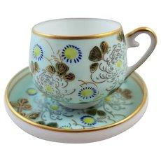 Vintage hand painted Japan demitasse geisha lithophane cup and saucer, porcelain, china, bone china, tea, coffee, tea time, high tea, tea party, tea set