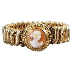 Vintage Art Deco gold filled DF Briggs Carmen stretch expansion cameo sweetheart childs bracelet