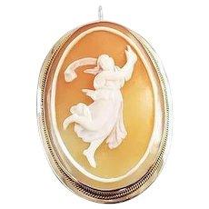 Vintage estate full body 14k gold cameo pendant brooch pin, mid century