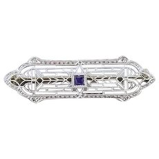 Antique Art Deco 14k white gold and platinum European cut .32 carat diamond and blue sapphire filigree bar pin brooch signed Krementz