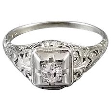 Antique Art Deco 18k white gold .18ct European cut diamond filigree solitaire engagement ring, size 8, 1920s