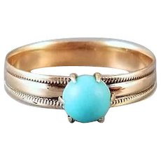 Sweet Victorian 10k rose gold, pink gold, Persian blue turquoise cabochon solitaire ring, size 5-1/4
