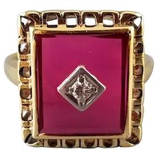 Vintage early Art Deco 10k gold synthetic flame fusion ruby with white gold diamond accent statement ring, size 8.5