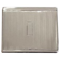 5.5 ounce scarce Flip Top Box vintage Art Deco 1920s signed Battin sterling silver cigarette case, smoking, tobacciana, business card case