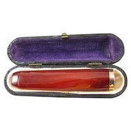Vintage Art Deco cherry red genuine Baltic amber cigarette holder, smoking, cheroot, cigar, tobacciana, original fitted display box case