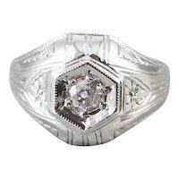 Vintage Art Deco 18K white gold .25 carat European cut diamond solitaire ring, dome ring, engagement ring, size 6-3/4, vintage bride, bridal