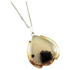 Antique Art Deco 10k gold dendritic moss agate tear drop pendant necklace Miller-Steinau- Portland, Oregon