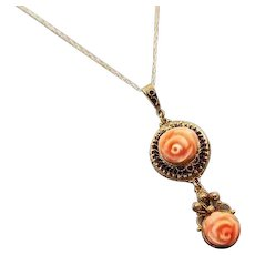 Antique Edwardian cannetille 14k gold carved peach coral roses lavalier drop pendant necklace