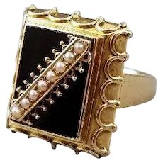 Antique Edwardian 14k gold black onyx seed pearl memento mori mourning statement ring, gothic, cocktail ring, size 8, goth