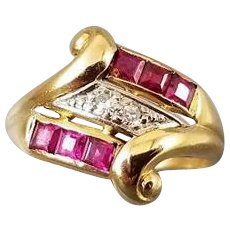 Vintage Art Deco Retro Moderne 14k gold diamond, channel set synthetic lab created flame fusion ruby ring, size 7-1/2, signed Larter & Sons