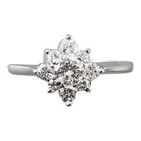Vintage 14k white gold .56 carat diamond cluster engagement wedding bridal halo ring, size 6-1/4