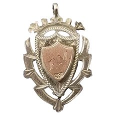 Antique Edwardian sterling silver and 9ct rose gold pocket watch fob, pendant, Junior High Jump 1919 FM, pink gold, 9 karat, 9 carat