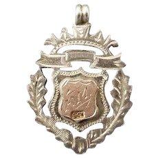 Antique Edwardian sterling silver and 9ct rose gold pocket watch fob, pendant, High Jump 1920 FM, pink gold, 9 karat, 9 carat