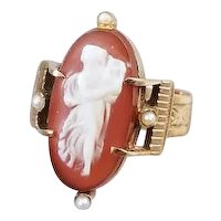 Antique Victorian rose gold hardstone sardonyx cameo seed pearl double buckle ring full body with lyre harp, size 6-1/4