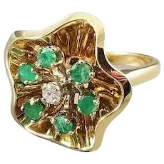 Vintage estate mid century 14k gold green emerald and diamond statement cocktail halo ring, size 6-3/4