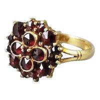 Antique Edwardian 18k gold English garnet cluster halo ring, size 6, Bohemian garnets
