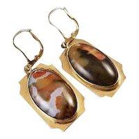 Vintage mid century 14k gold jasper agate pierced lever back earrings, Southwestern