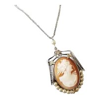 Vintage Art Deco 10k white gold filigree cameo and pearl pendant necklace