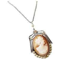 Antique Art Deco 10k white gold filigree cameo and pearl pendant necklace