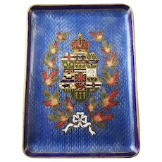 Vintage 1941 brass cobalt blue guilloche enamel Canadian Niagara Falls coat of arms regalia trinket tray, tip tray, ring tray, Canada