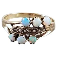 Antique Victorian 10k gold opal and seed pearl three attached bands stacking ring, size 7-1/2