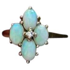 Vintage 10k gold opal and diamond cluster ring, size 7-1/2
