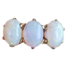 Antique Edwardian 14k gold three opal ring, size 4-3/4