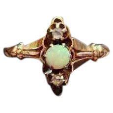 Antique Victorian 10k rose gold opal and rose cut diamond mini navette ring, size 6-1/2