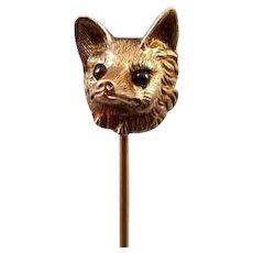 Antique Edwardian 10k gold fox head figural with garnet eyes Art Nouveau stick pin, stickpin, lapel pin, tie pin, tie tack, brooch