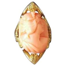 Antique Edwardian Art Nouveau 10k gold high relief coral cameo statement elongated navette ring with seashell accents, pinky ring, size 4.5