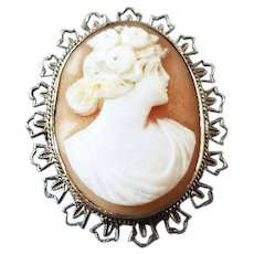 Vintage Art Deco 14k white gold filigree 1920s cameo brooch pin pendant