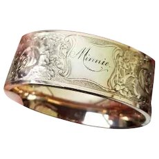 MASSIVE extra wide gold filled floral engraved Minnie antique Edwardian cuff bracelet Signed Ripley & Gowan
