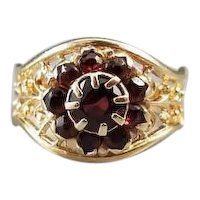 Gorgeous ornate filigree vintage mid-century 14k gold garnet cluster halo ring, pinky ring, pinkie ring, dome ring, size 4-1/4