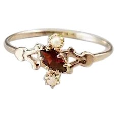 Petite delicate 10k antique Edwardian marquise cut garnet and seed pearl ring, size 6-3/4