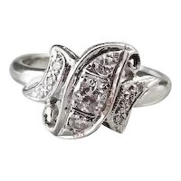 Vintage Art Deco 14k white gold bypass shield shaped asymmetrical diamond ring, size 6-1/4, engagement ring, bridal, wedding ring, bride