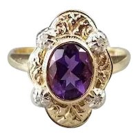 Modern estate 14k two tone yellow and white gold purple amethyst diamond ring, size 6-3/4