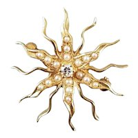 Antique Edwardian 14k gold sunburst seed pearl and diamond brooch pin with pendant attachment