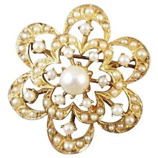 Antique Edwardian 14k gold 61 seed pearl brooch pin with pendant attachment