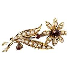 Antique Edwardian 14k gold seed pearl and garnet flower bouquet brooch pin