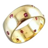 Vintage 14k gold 10 genuine ruby wide highly polished wedding band eternity ring, size 7, signed JR Wood Art Carved, ArtCarved