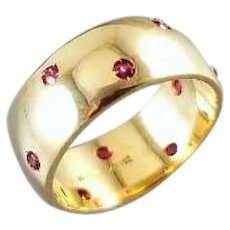 Vintage 14k gold 10 genuine ruby wide highly polished wedding band eternity ring, size 7, signed JR Wood Art Carved, ArtCarved
