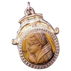 Antique Victorian tiger eye quartz cameo and carnelian two sided rose gold filled watch fob, charm, pendant