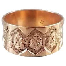 Antique mid Victorian 10k rose gold very wide hand carved faceted wedding cigar band ring, size 9, signed Arnold & Steere, pink gold, unisex