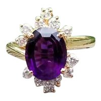 Sensational modern estate 14k gold 2.15 carat Siberian amethyst .48 carat diamond asymmetrical bypass style halo cocktail ring, size 6
