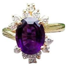 Sensational modern estate 14k gold 2.15 carat Siberian amethyst .48 carat diamond asymmetrical bypass style halo cocktail ring, size 6